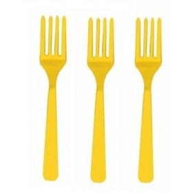Fourchettes Plastiques Jaunes