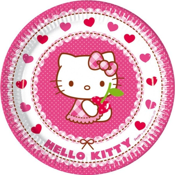 8 Assiettes jetables Hello Kitty Cerise