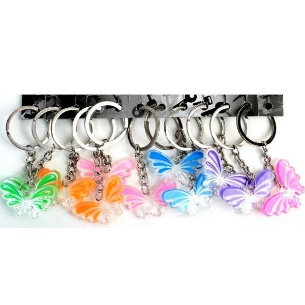 12 Porte-clés Papillon Cristal