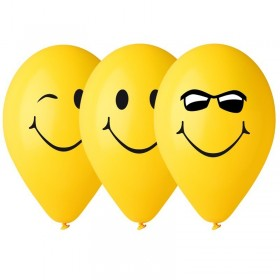 10 Ballons Jaunes Smile decoration de fete