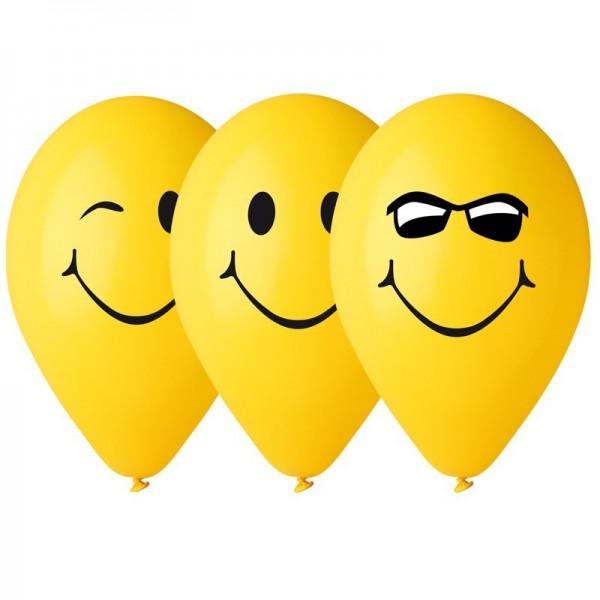 10 Ballons Jaunes Smile decoration de fete