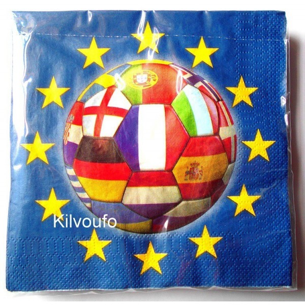 20 Serviettes Football Euro 2016
