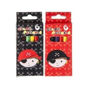 Boîte de crayons de couleurs Pirates noir ou rouge