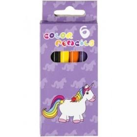 boîte de 6 crayons de couleurs avec licorne