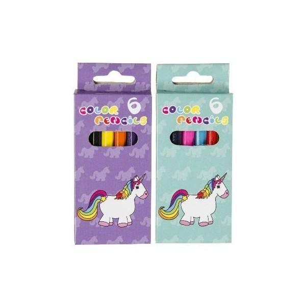 Lot de 48 Boîtes de 6 crayons de couleurs Licorne