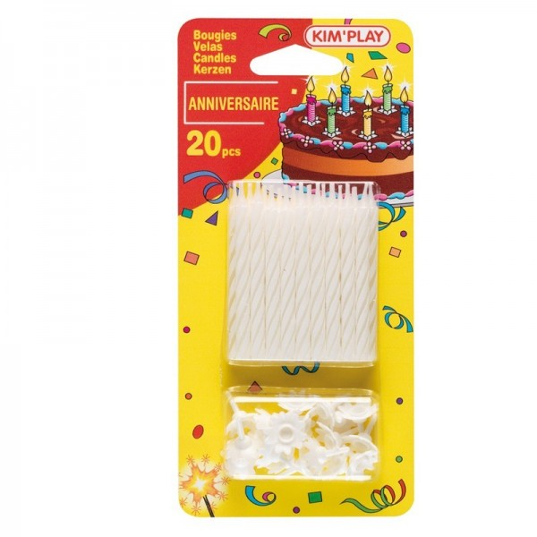 20 Bougies Blanches pour Anniversaire