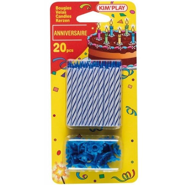 20 Bougies Bleues pour gâteau
