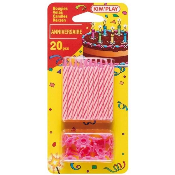 20 bougies roses pour le gâteau anniversaire