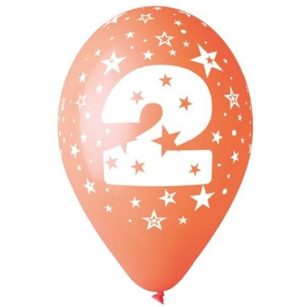 10 Ballons Multicolores Chiffre 2