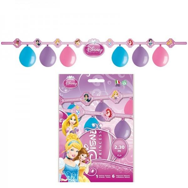 6 Ballons Les princesses + 1 Guirlande