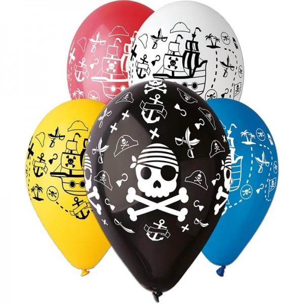 5 Ballons Colorés Motifs Pirates