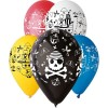 5 Ballons Colorés Motifs Pirates