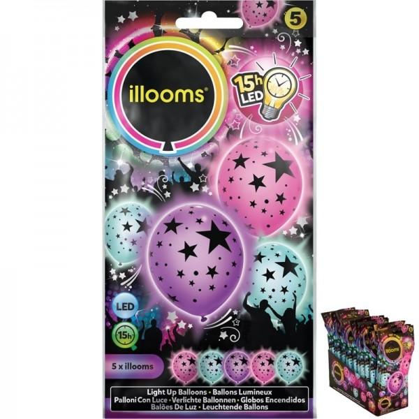 5 Ballons LED Etoiles