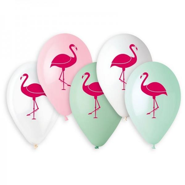5 Ballons à gonfler Flamants Roses