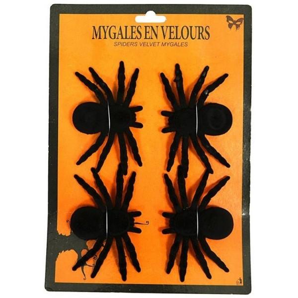 4 Mygales Noires en Velours pour Halloween