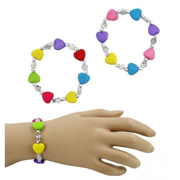 Bracelet avec cœurs couleurs