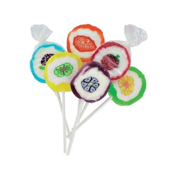 Sucette ronde multicolore avec dessin
