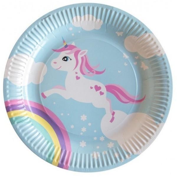 8 assiettes Licorne pour anniversaire