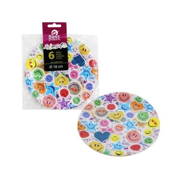 Paquet de 6 assiettes visages pour anniversaire enfant