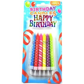 12 Bougies Multicolores Happy Birthday