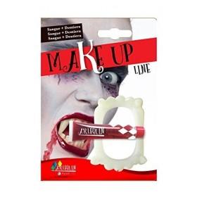 Dentier avec tube de faux sang