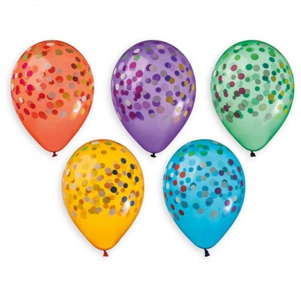 5 Ballons à gonfler Confettis