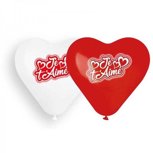 6 Ballons à gonfler en forme de coeur