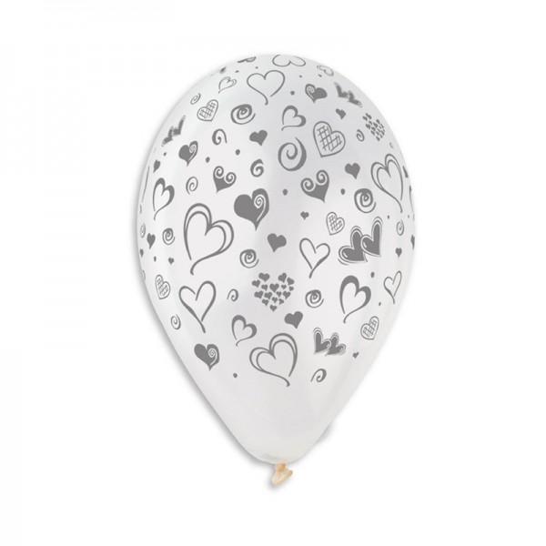 10 Ballons à gonfler Imprimés Cœurs Argent
