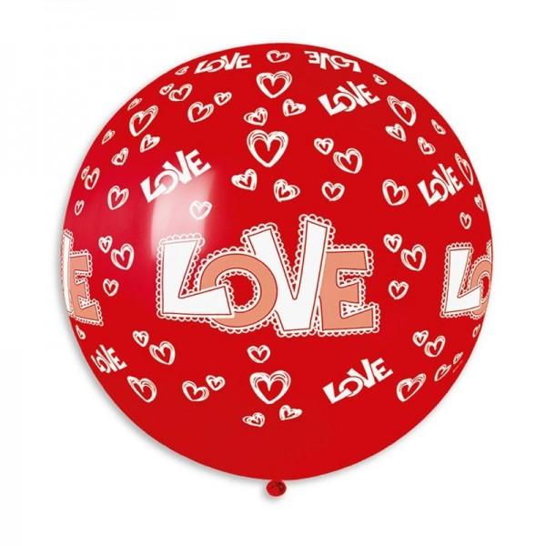 Ballon Géant Rouge Cœur et Love