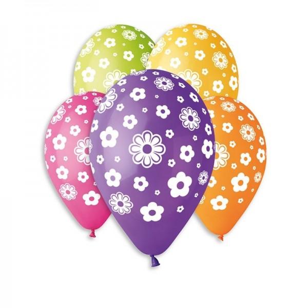 10 Ballons Colorés Fleurs