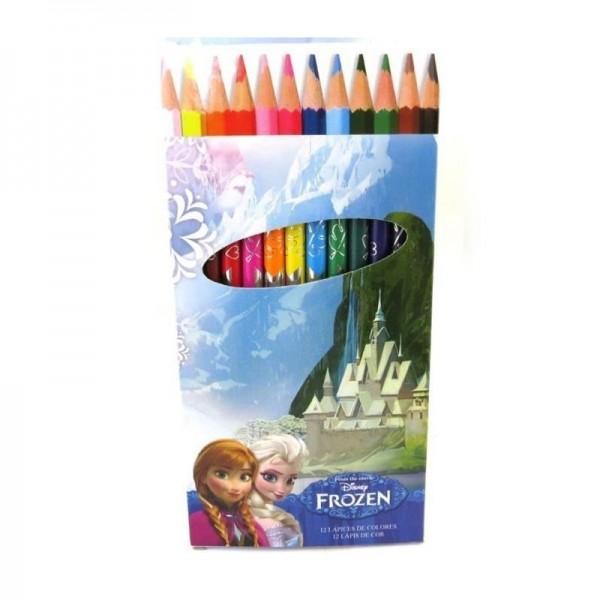 12 Crayons de couleur Reine des neiges