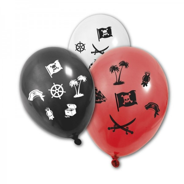8 Ballons Pirates Noir Blanc Rouge