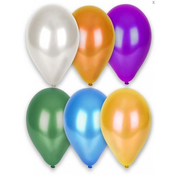 10 Ballons Couleurs Métalisés