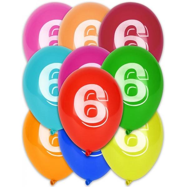 8 Ballons Multicolores Chiffre 6