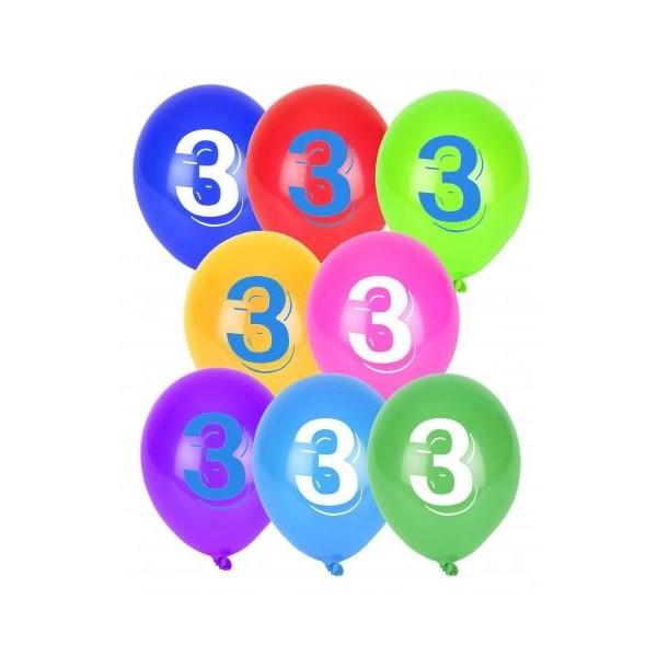 8 Ballons Multicolores Chiffre 3