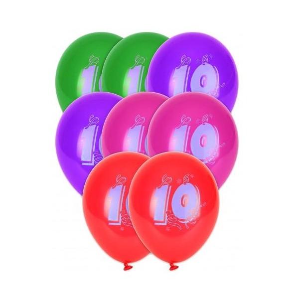 8 Ballons Multicolores Chiffre 10