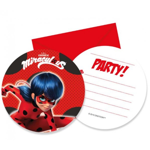 6 Cartes Invitations Miraculous Ladybug™