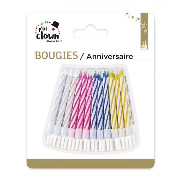 24 Bougies Multicolores Anniversaire